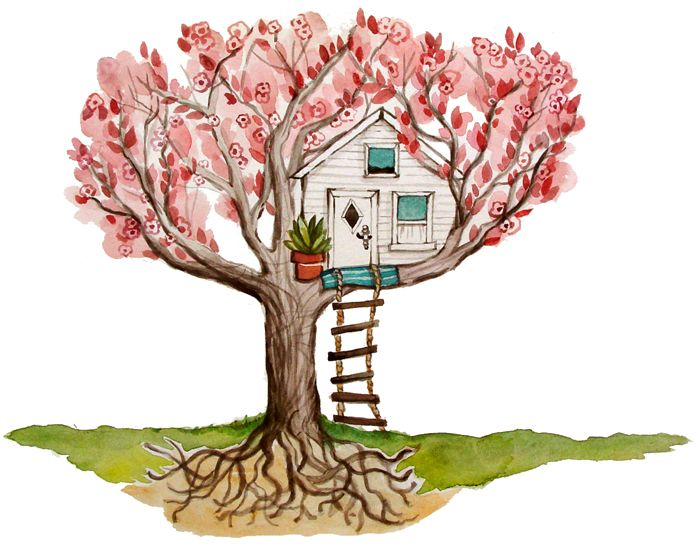 Not Found Tree House Drawing Watercolor Illustration House Drawing