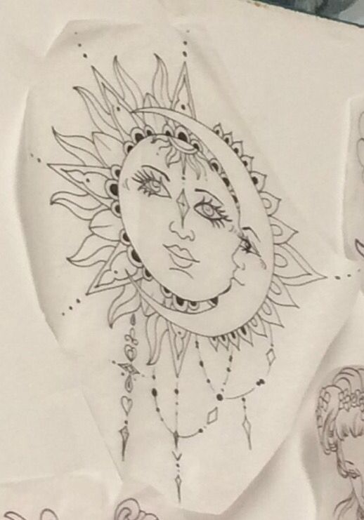 Sun and moon bohemian tattoo cover for the one on my shoulder?!