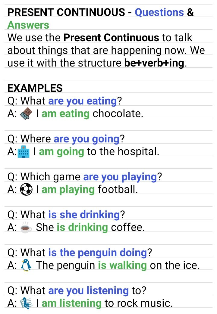 Present Continuous Questions Answers Learn English