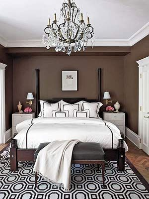 Go glam in the bedroom. Paint walls chocolate brown, trim and night tables high-gloss white. Behr's Premium Plus in Revival Mahogany, homedepot.com.: Decor, Brown Bedroom, Chocolate, Masterbedroom, Wall Color, Master Bedroom, Brown Wall, Bedrooms, Bedroom Ideas