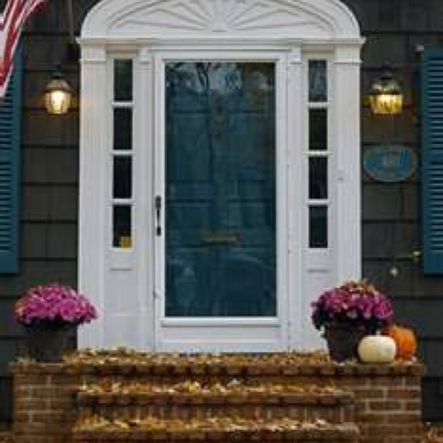 This Color Teal Front Door With Our White Siding And