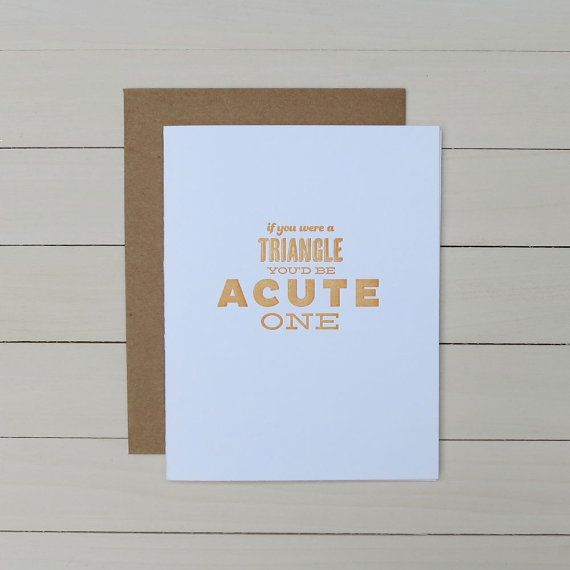 acute triangle pickup line letterpress card by fancyseeingyouhere