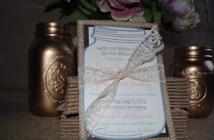 Burlap & Lace Invitations: Lace Weddings, Lace Invitations, Idea, Burlap Lace Wedding, Invitations Ties, Lace Bows, Burlap Wedding, Mason Jars, Lace Wedding Invitations