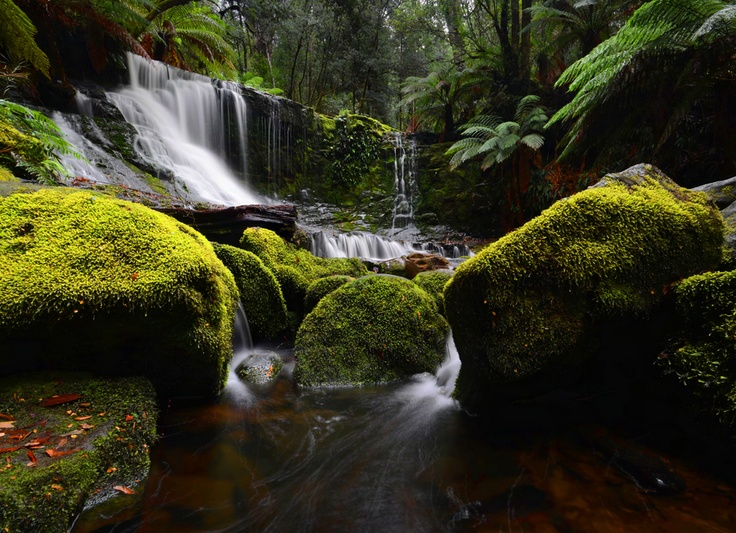With Open Eyes; photograph by Grant Murray. Horseshoe Falls, Mt Field National Park, Tasmania, Australia DONE!