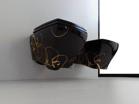 Jazz, design Meneghello  #bagno #bathroom #design #decor #gold #black  #sanitaryware #Artceram