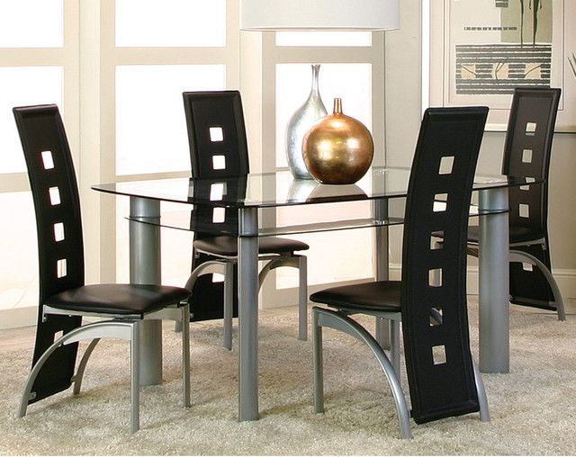 This Modern Dinette Set Features A Double Glass Top And Extended Black  Chair Backs With Square Cut Out Detailing.