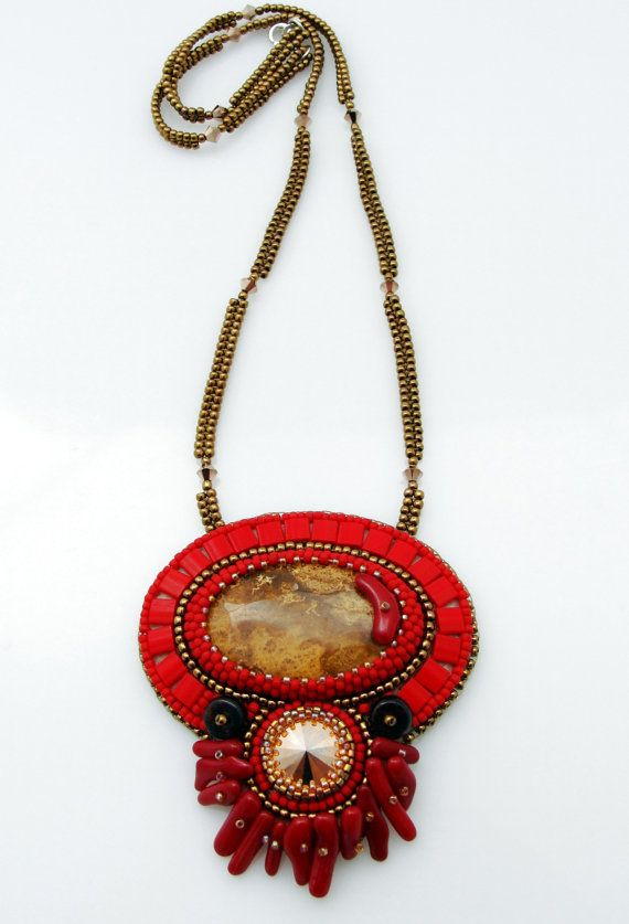 Fossil Coral Necklace Garnet Gemstone Necklace by ThezoraArtBijoux Use PINTEREST coupon at check-out to get 10% OFF!