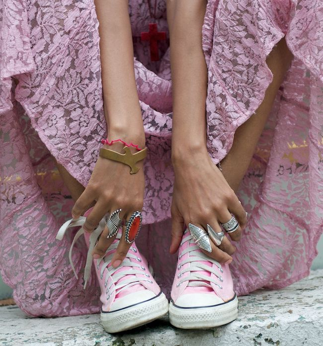 Love the pink Converse + lace