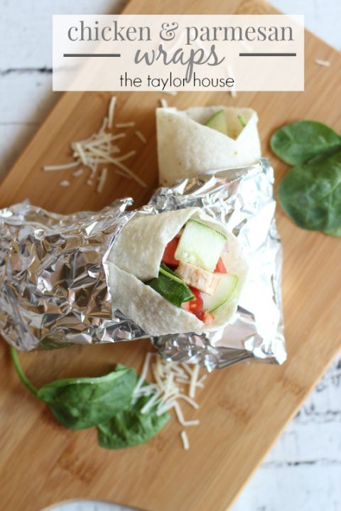 Delicious Chicken Parmesan Wraps with Homemade Garlic Hummus!