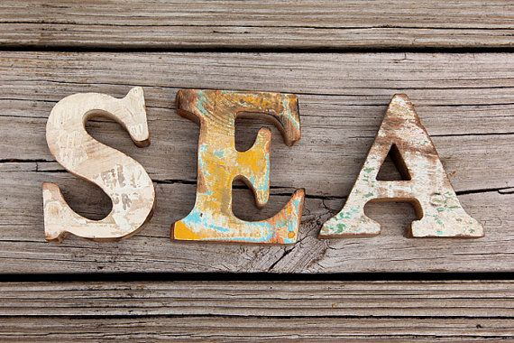 Beach Decor SEA Sign Vintage Style Nautical Wooden by Seastyle $43