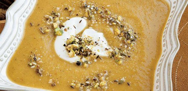 Squash Lentil Soup with Dukkah Recipe   alive