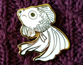 Sad Fish Hard Enamel Pin - Gold and White - Lapel Pin Cloisonné Badge - Goldfish White Telescope, Mermaid Pin