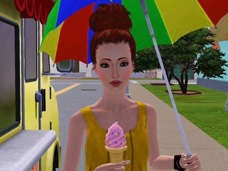 Until emfim, she took the colorful ice cream, yuhuuul! By: Dustin Lays