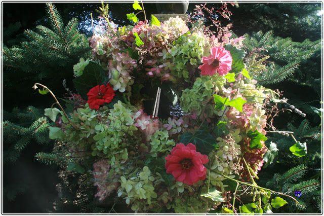 garland of hydrangea, autumn, fall wreath,