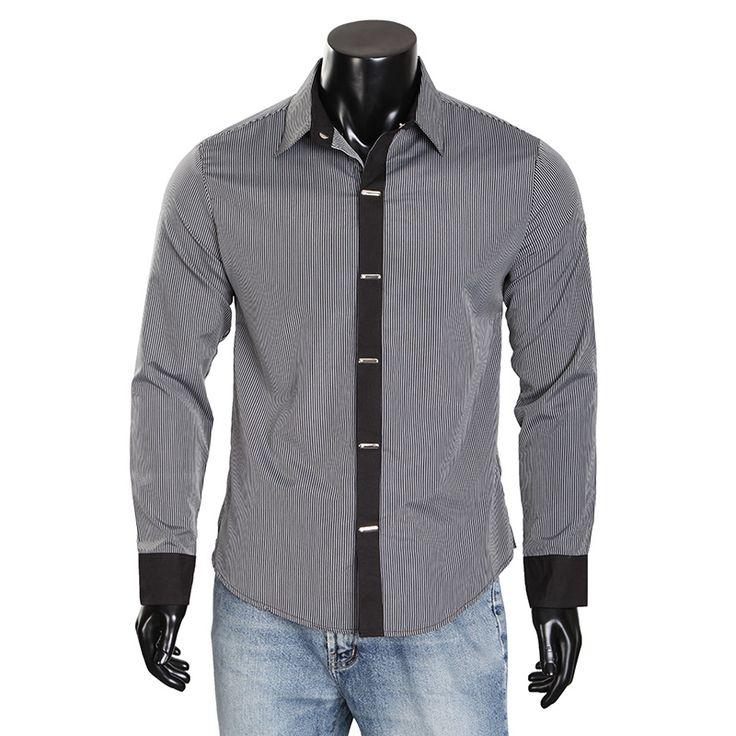 New Stylish Mens Dress Shirts Stripe Casual Long Sleeve Slim Fit