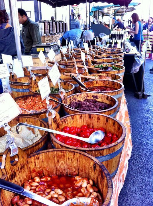 Broadway Market in Hackney, Greater London. Visit on Saturday morning.