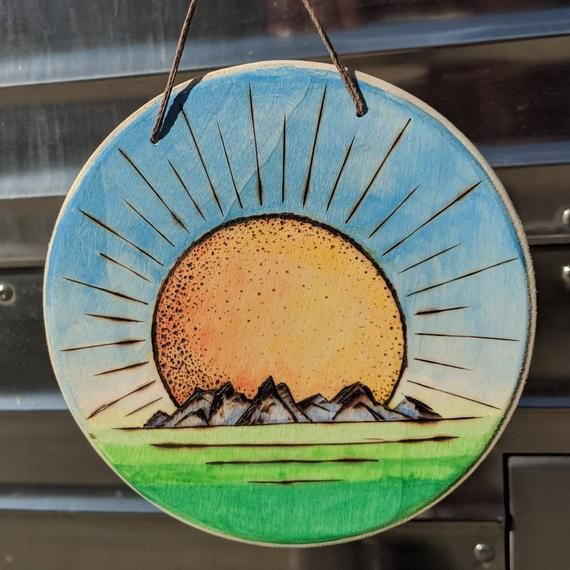 Here Comes The Sun Wood Burned Wall Decor Mountains Sunshine Home