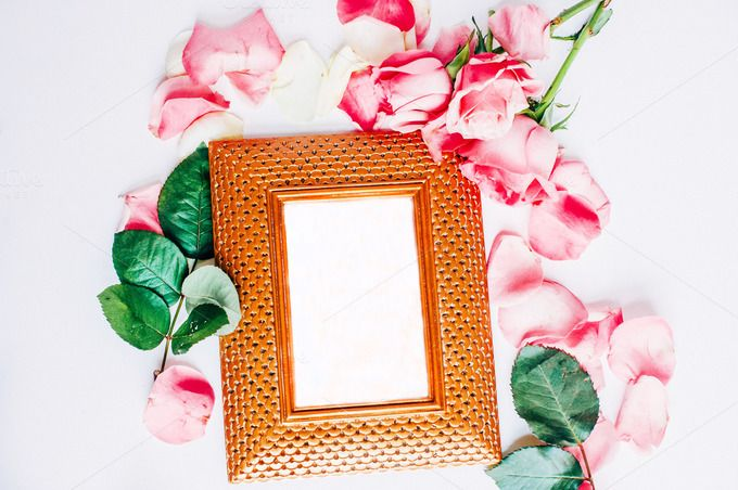 Gold frame with roses I Styled stock - Business