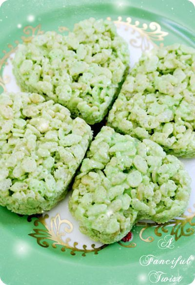 Rice Krispie treats for St. Patrick's Day