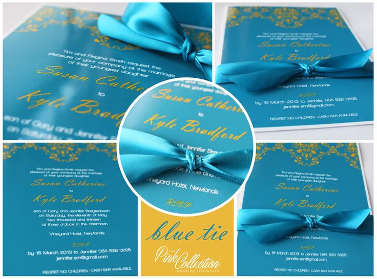 An elegant blue and yellow invitation printed on photo paper with satin ribbon