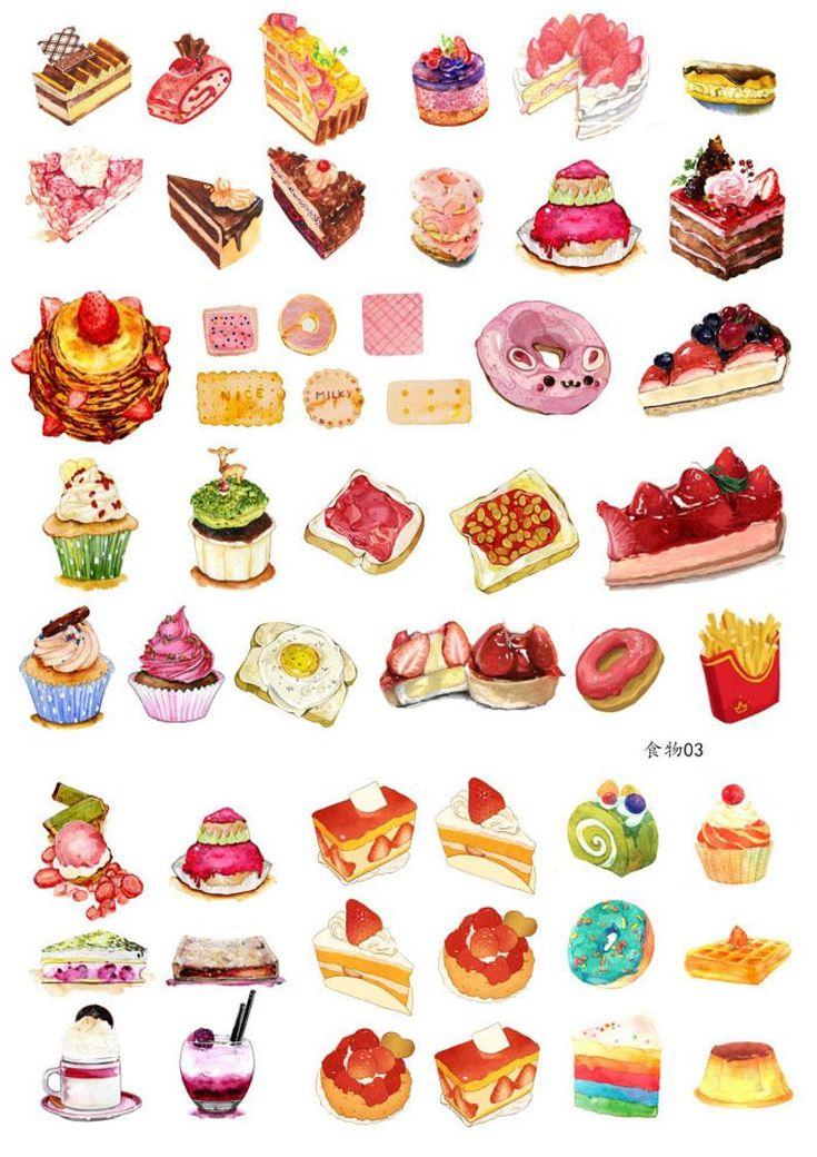Set of 2 Food StickersPlanner stickersScrapbookingDIY