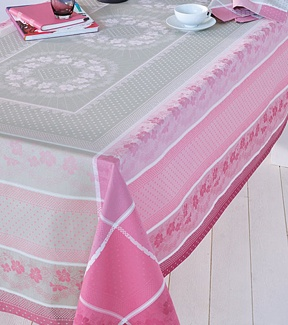 Roses Anciennes Easy Care Table Linens Feature Sweet Flowers Against A Gray  And Pink Background Woven On Soft, Cotton.