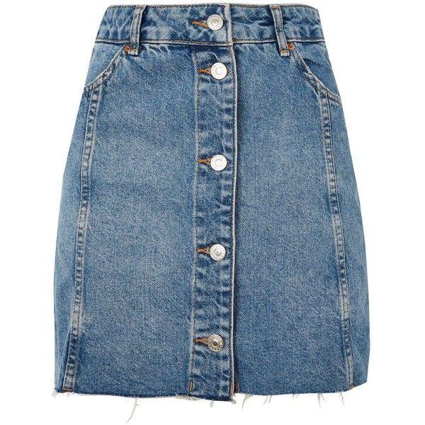 TopShop Moto Button Front Mini Skirt ($55) ❤ liked on Polyvore featuring skirts, mini skirts, bottoms, faldas, topshop, denim skirt, mid stone, short blue skirt, button front skirt and blue mini skirt