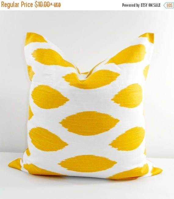 SALE Yellow  Pillow cover. Yellow and white sham cover.