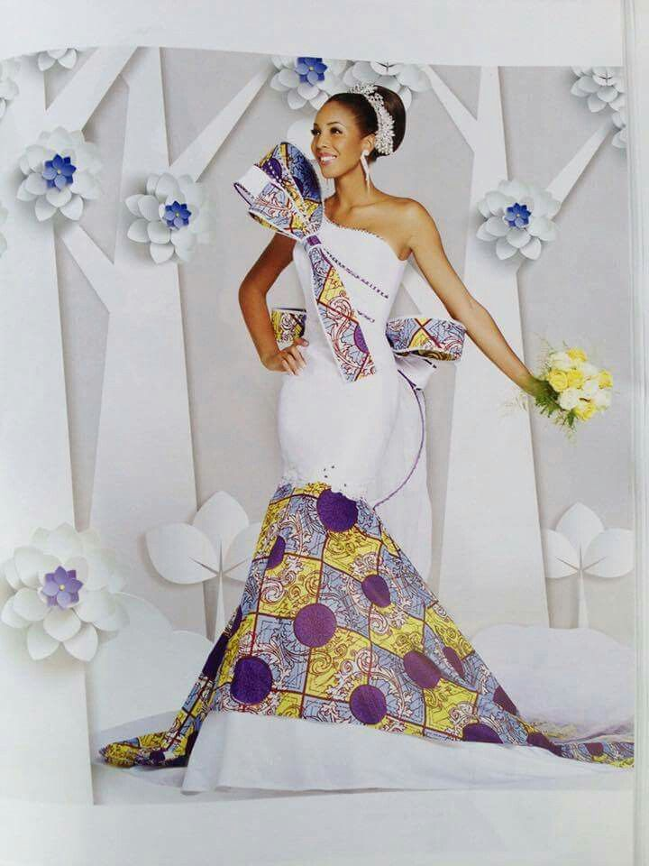 Wedding gown with Ankara inserts by Ivorian stylist Anderson