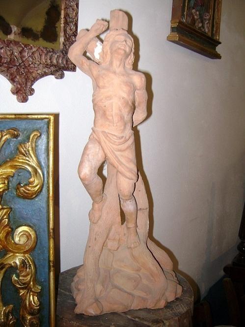 terracotta statue rappresenting St. Sebastian