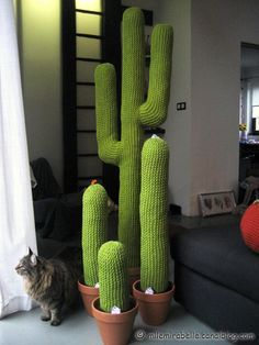 KNIT!!!!!! Maybe we can use noodles- Felt wrapped, stapples, studded with tackscactus geants salon maison deco