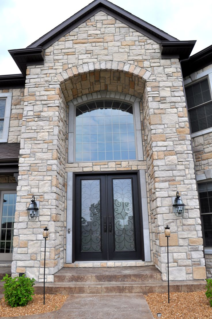 Stoned Front Entryway Country With Carmel Base Ashlar Jn