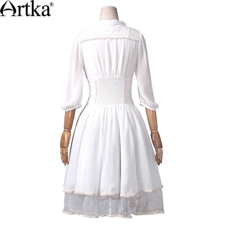 Artka Women's Spring Slim Cut Delicate Lace Embroidery Three Quarter Sleeve Stand Collar  Cinched Waist Swing Hem Dress LA10730X