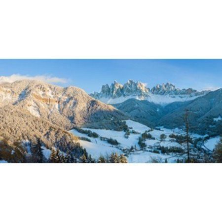 Snowy valley in winter St Magdalena Geisler Spitzen Val di Funes Dolomites Trentino-Alto Adige South Tyrol Italy Canvas Art - Panoramic Images (24 x 12)
