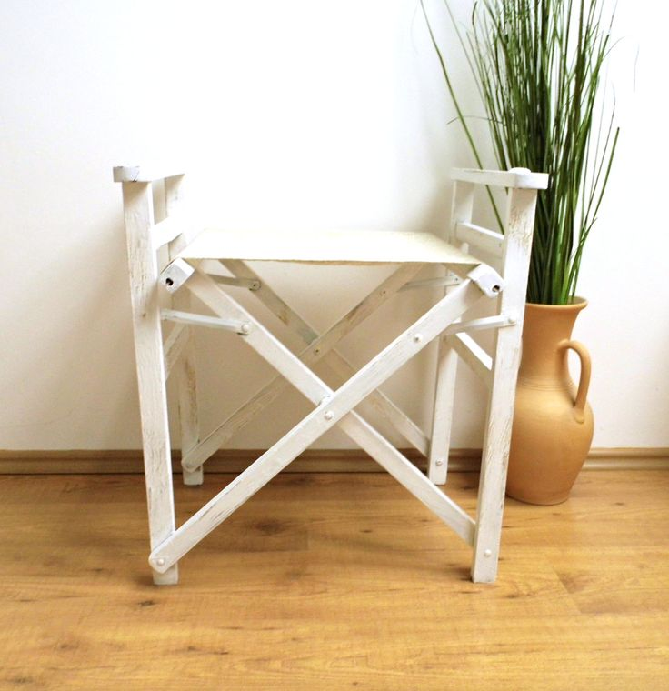 Vintage Directors Chair Folding Patio Wood White Distressed Wooden Garden Porch Balcony Slatted Seat Rustic Decor Furniture Canvas Bohemian by WoodHistory on Etsy