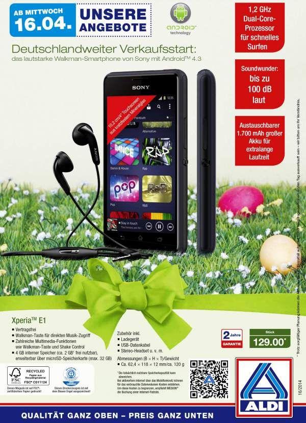 Ordentlich was auf die Ohren gibt es ab dem 16. April bei Aldi-Nord und Aldi-Süd, wenn dort das brandneue Walkman-Smartphone Sony Xperia E1 (MD 98777) angeboten wird. Abgesehen von den ausgereiften Sound-Features handelt es sich um ein solide ausgestattetes Einsteiger-Gerät mit verhältnismässig aktuellem Betriebssystem.