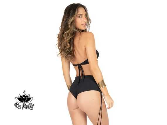 High Waisted Black Bikini, Cheeky Bikini, Tribal Bikini, Boho Bikini, Retro Swimsuit, Black Bathing Suit For Women