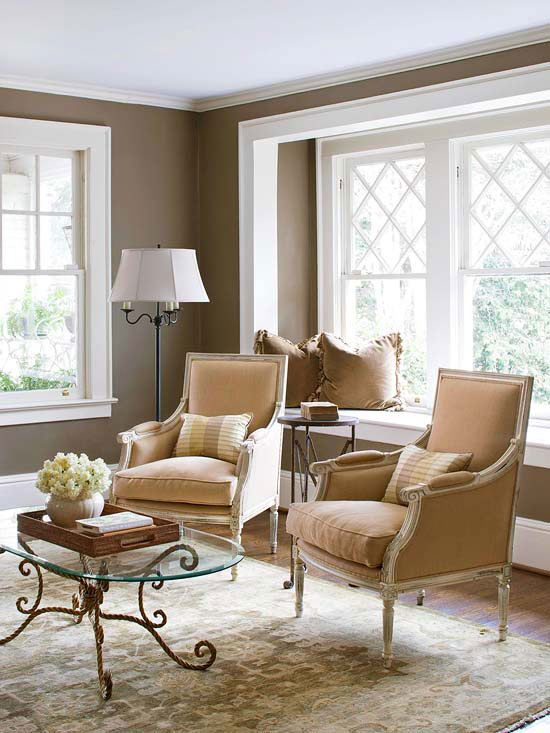 Living Room Furniture Ideas For Small Spaces #15: Classy Comfort - A Pair Of Classic Armchairs Creates A Quaint Setting Juxtaposed Against The Cozy Window Seat For A Formal Yet Relaxed Sitting Room.