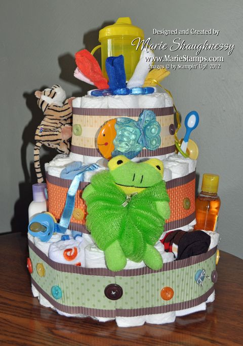 I have always wanted to make one of those cute diaper cakes you see at baby showers. A friend's daughter is having her second baby boy, so ...