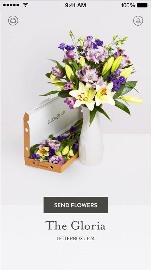 """iPhone app screen showing Bloom & Wild flowers, a """"Send Now"""" button and some representative pricing"""