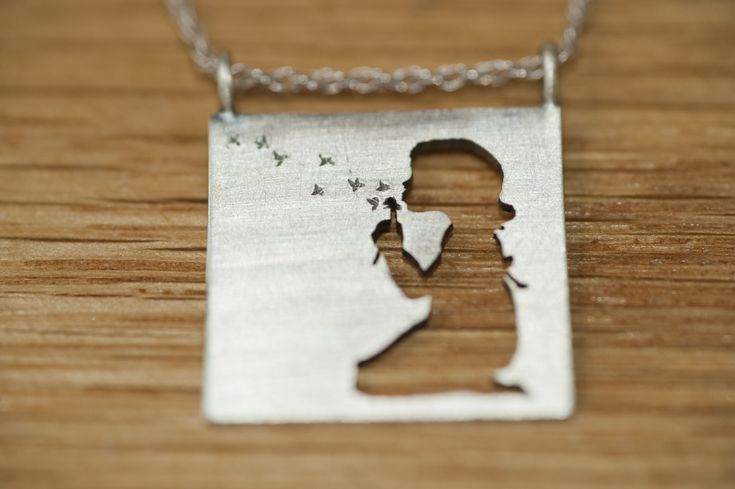 Girl blowing a dandelion, brushed finish, Sterling Silver Pendant. by Natasha Wood jewellery on fb