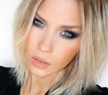 Blonde hair dark eye makeup