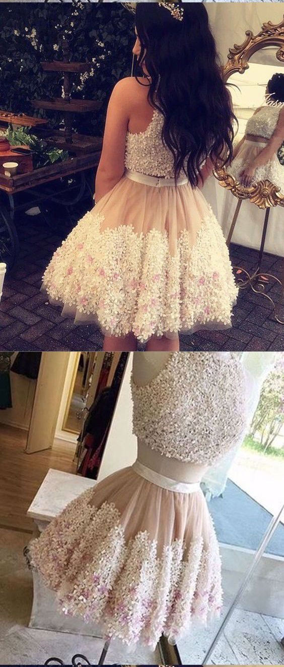 Chic A Line 2 Pieces Appliques Mini Homecoming Dress for Girls