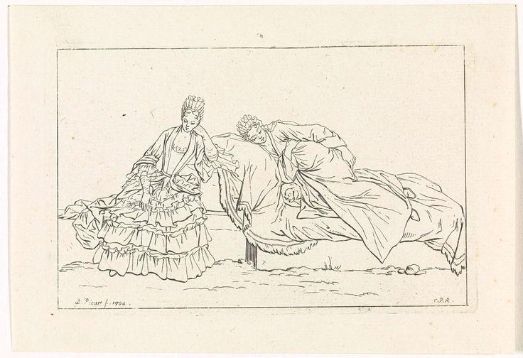 Bernard Picart | Manier waarop vrouwen rusten, Bernard Picart, Lodewijk XIV (koning van Frankrijk), 1704 | Een vrouw rust op een ligbed met haar hondje. De ander leunt er tegen aan. Ze dragen eigentijdse kleding.