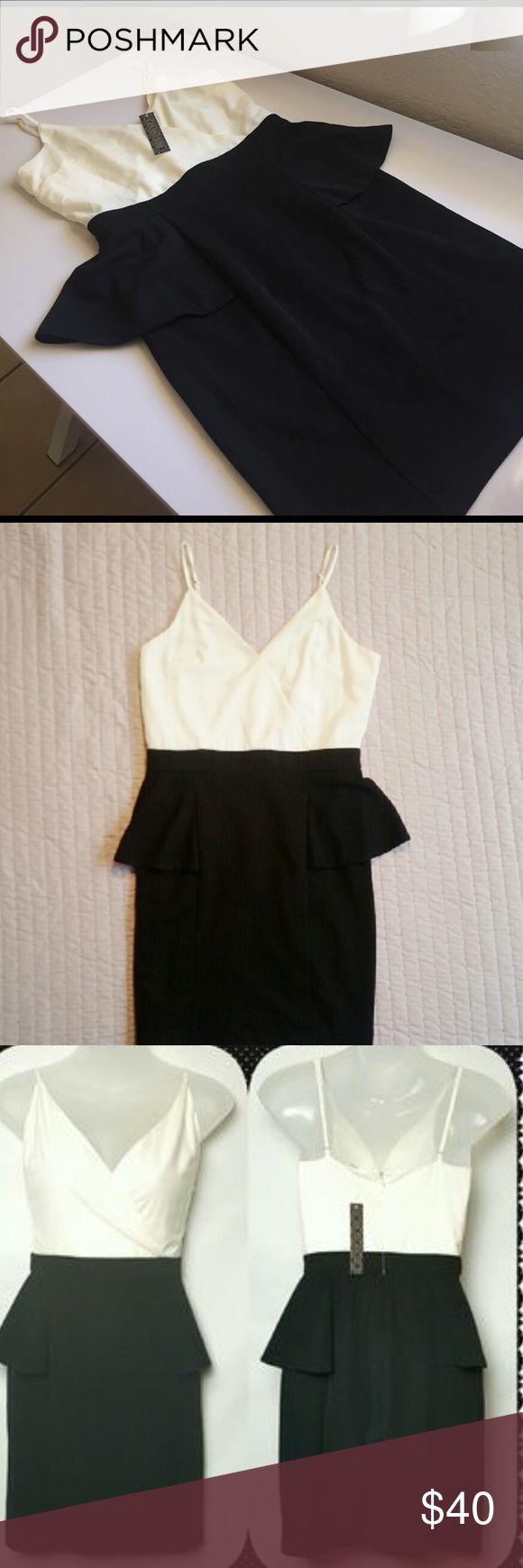 XS Gianni Bini Black & White Peplum Dress Gianni Bini Cream & Black Strap Dress size XS with tags Gianni Bini Dresses Mini