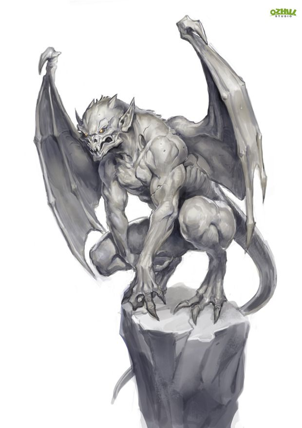 Gargoyle (French/British) - They ward of evil spirits from churches and the streets. They will come alive at night and turn to stone during the day. They do no harm any humans, they protect them from evil spirits. They do this by hiding in the shadows at night. They hide in alleys or fly/hop across buildings. Appearance: Winged humaniod dragon or bat, with horns, a tail, either talons or hooves, and may or may not have a beak. The skin is rock/stone in texture.