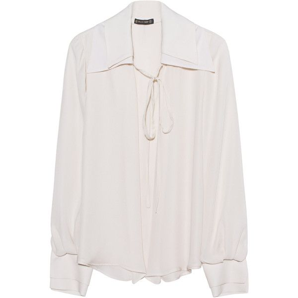 Plein Sud Double Collar Cream // Silk blouse (£580) ❤ liked on Polyvore featuring tops, blouses, shirts, shirt top, silk bow blouse, shirt blouse, silk blouse and cream top
