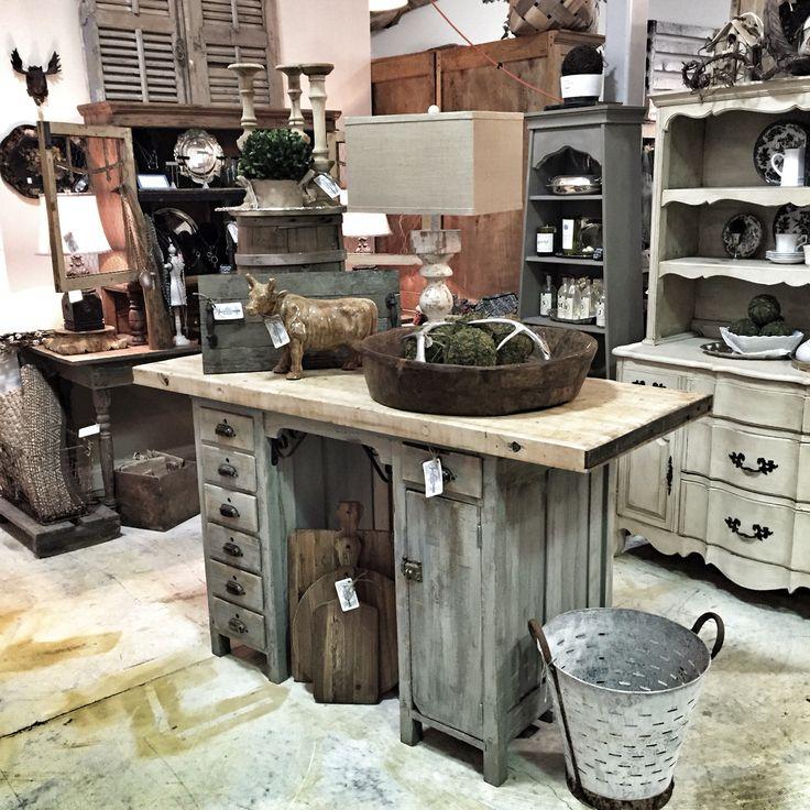Vintage desk made into an island with a butcher block top @CircaTyrone