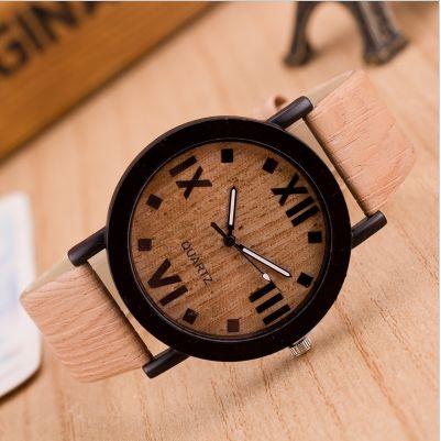 Men's Luxury Wooden Leather Strap Watch