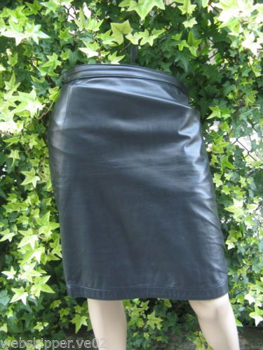 GONNA SKIRT PELLE LEATHER TG.42 NERO BLACK MATITA PENCIL CASUAL GOTHIC P08 | eBay